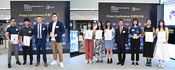 (左图左三)刘燊涛与公开组得奬者(右图中)李永安与学生组得奬者
