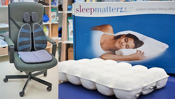 (左图)肩背乐腰垫及可携式座垫(右图)健康枕