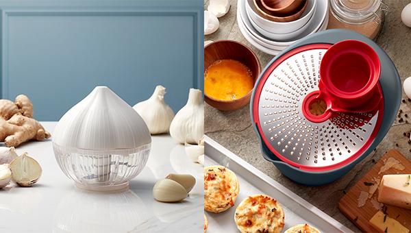 (左图)蒜头及香料切碎器(右图)360刨切碗套装