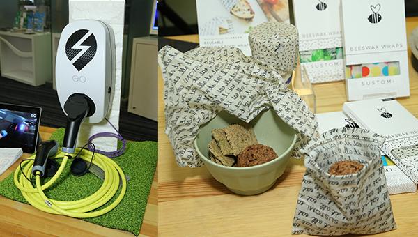 (左图)充电设施(右图)天然蜂蜡重用保鲜布等产品