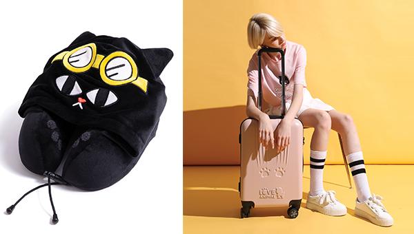 (左图)记忆棉颈枕(右图)与荷兰品牌Princess Traveller合作推出行李箱