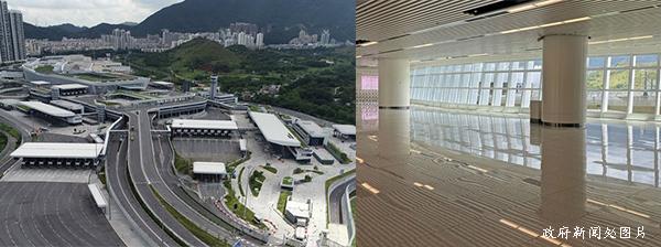 (左图)香园围边境管制站(右图)深港两地旅检大楼