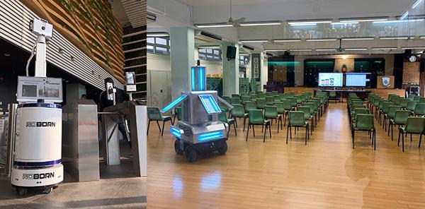 (左图)5G体温监测智能机器人PEP3000(右图)UVC紫外光消毒智能机器人Unicorn