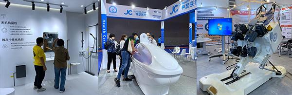 (左起)适老型浴室样板间、设计时尚的太空水疗舱,以及机械化康复设备
