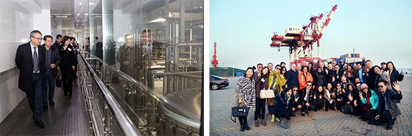 青島啤酒股份有限公司釀製啤酒的廠房(左圖)及青島港(右圖)