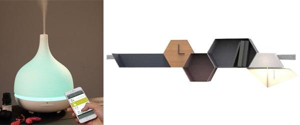 (左圖)無線藍牙智能超聲波香薰加濕器;(右圖)六角形組合式層架套裝