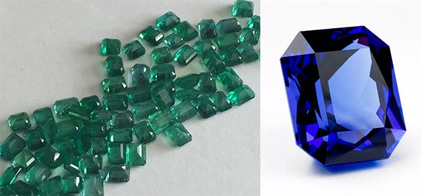 (左圖)綠色寶石;(右圖)坦桑石