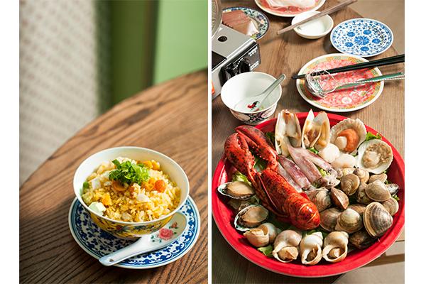 鹹蛋撈飯, 海鮮拼盤