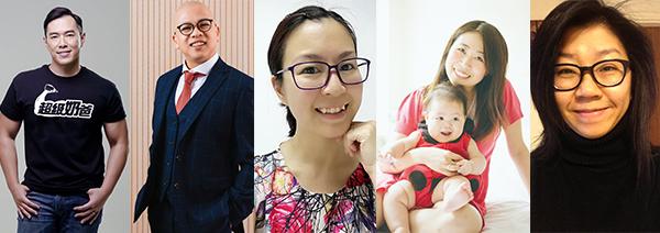左起: 何基佑、葉偉麟、莫萊茵、吳凱霖及莊梅岩