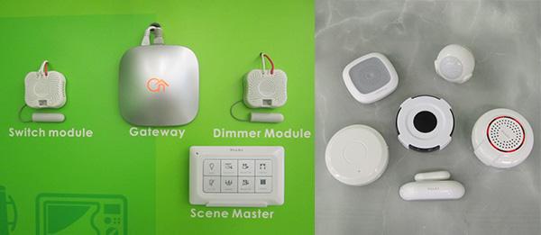 左圖: 操控系統組件, 右圖: 無線傳感器