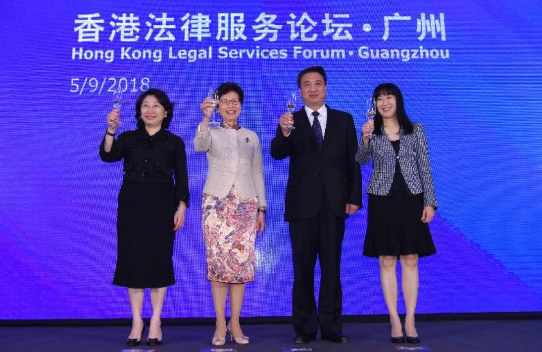 (左起)鄭若驊、林鄭月娥、李春生、方舜文