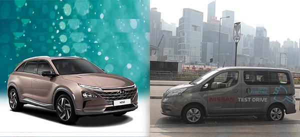 現代汽車電池車NEXO(左圖), 日產e-NV200純電動車(右圖)