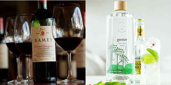 左圖: 來自美國的2013 Cabernet Sauvignon Napa Valley, 右圖: 來自芬蘭的Gustav Dill Vodka。