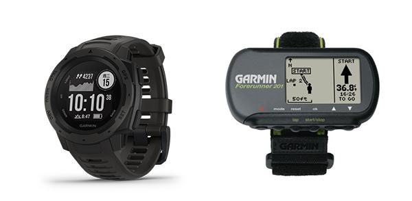 左圖: 最新型號 Instinct, 右圖: 首隻具備GPS功能的Forerunner