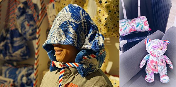 左圖:頸枕連小帽, 右圖:玩具元素融入產品