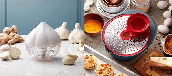 左圖:蒜頭及香料切碎器,右圖:360刨切碗套裝