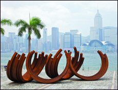 A Bernar Venet installation at the Hong Kong Cultural Centre and Museum of Art piazzas, May 3-21,