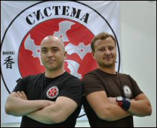 Janik Litalien (left) with Russian instructor Daniil Ryabko, who was invited to conduct a Systema se