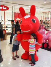 Shopping mall promotional events, such as this one for the popular horse character Rody, help boost