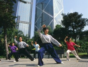 Many Hongkongers start their day with tai-chi in the park