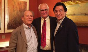 Dominic Lam with two mentors in science and philanthropy