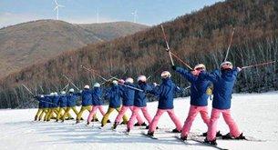 Group ski practice