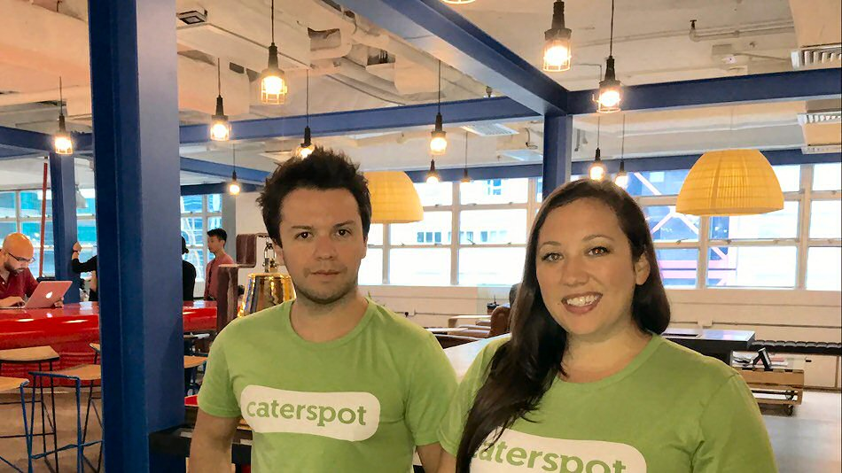 CaterSpot co-founders Camilo Paredes (left) and Amanda Ernst
