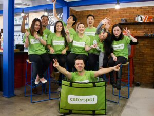 Co-founder Camilo Paredes (centre) with the CaterSpot team