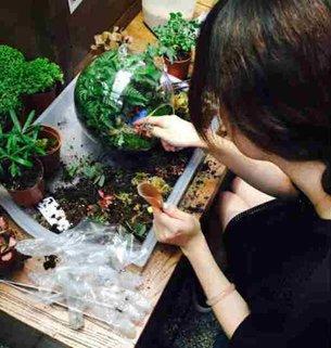 Miniature gardeners in action