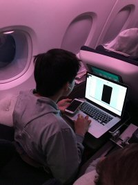 A hacker participant develops ideas aboard a British Airways flight