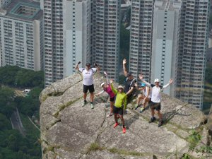 Hiker Steve Pheby on Suicide Cliff, Kowloon peak