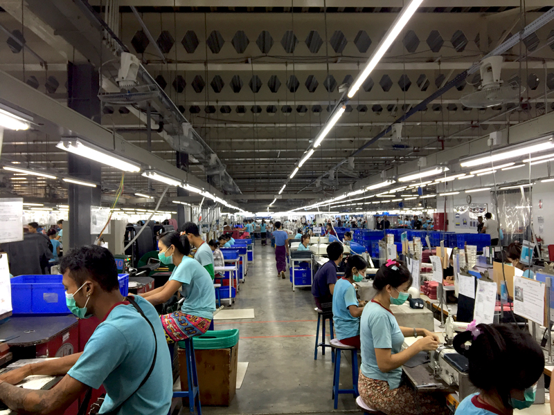 A handbag factory in Yangon