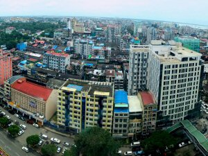 The bustling centre of Yangon, commercial hub of Myanmar