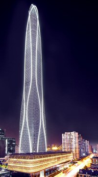 The tower has a hyperboloid winding-glass curtain wall