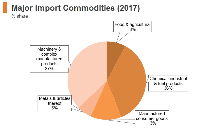 Graph: Brazil major import commodities (2017)