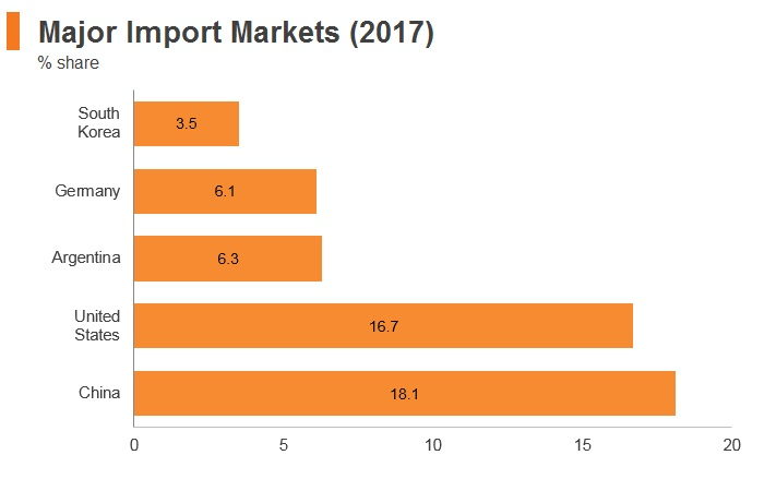 Graph: Brazil major import markets (2017)