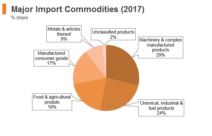 Graph: Jordan major import commodities (2017)