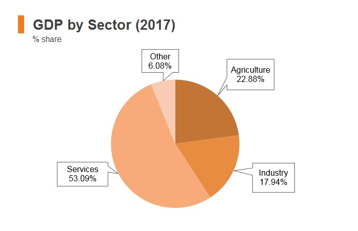 Graph: Pakistan GDP by sector (2017)