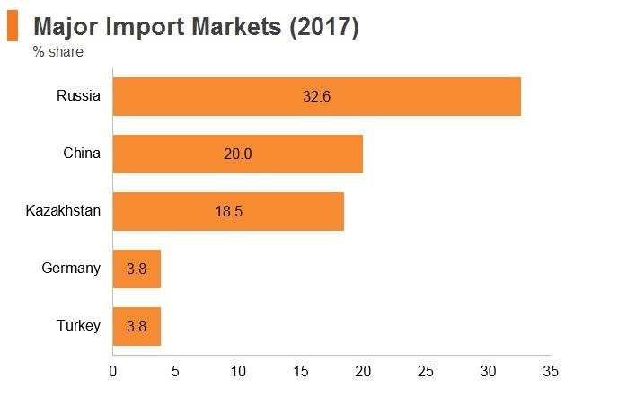 Graph: Tajikistan major import markets (2017)