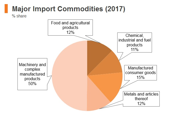 Graph: Turkmenistan major import commodities (2017)