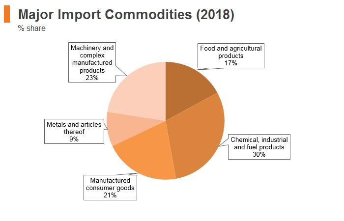 Graph: Georgia major import commodities (2018)