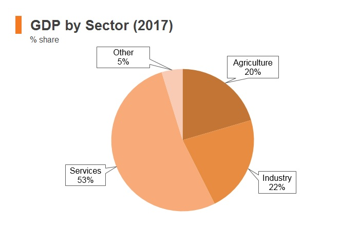 Graph: Afghanistan GDP by sector (2017)