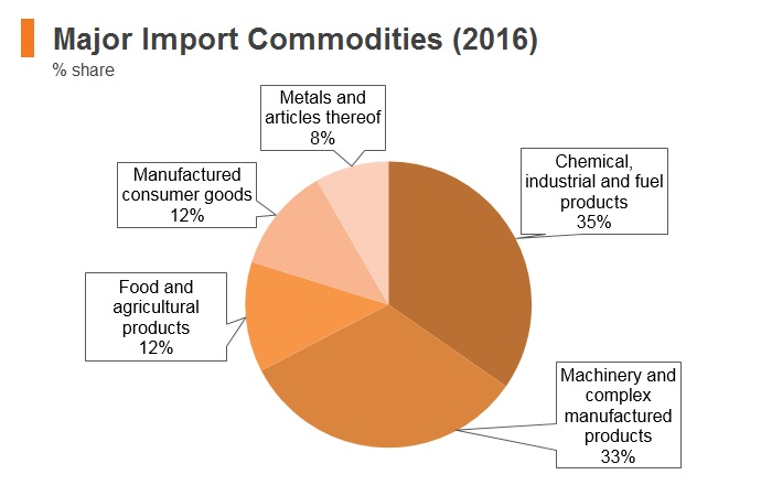 Graph: Bahrain major import commodities (2016)