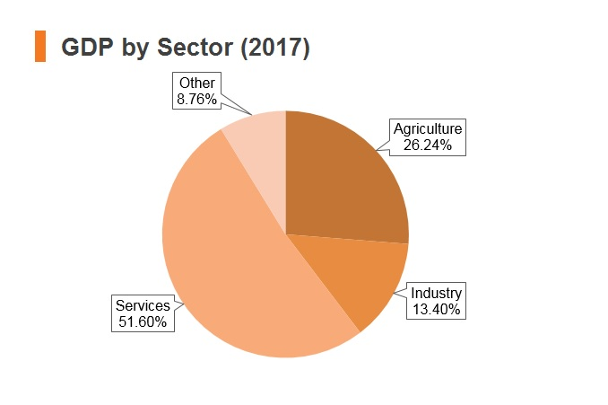 Graph: Nepal GDP by sector (2017)