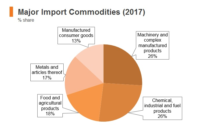 Graph: Nepal major import commodities (2017)