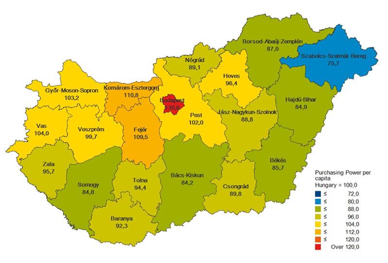 图片:2012年匈牙利各地的购买力