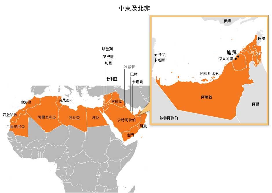 圖: 中東及北非