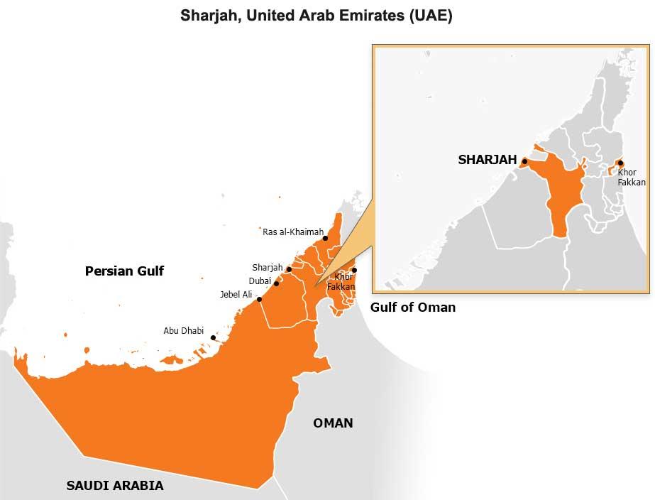 Map: Sharjah, United Arab Emirates (UAE)