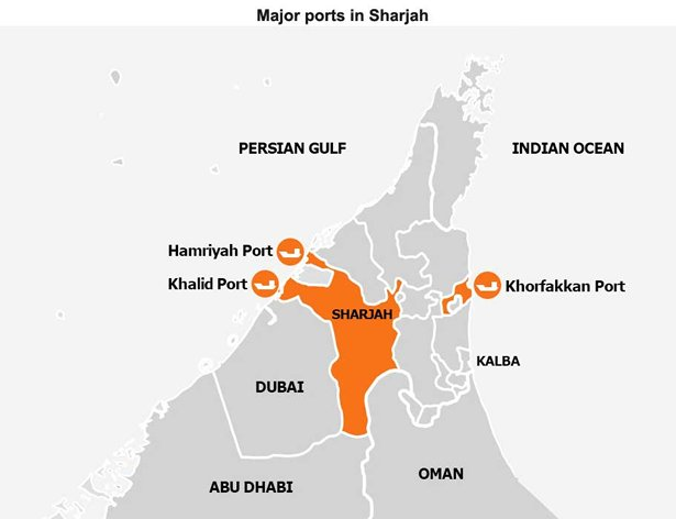 Map: Major ports in Sharjah