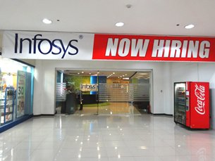 Photo: An office of the leading India BPO companies, Infosys, in a Philippine mall